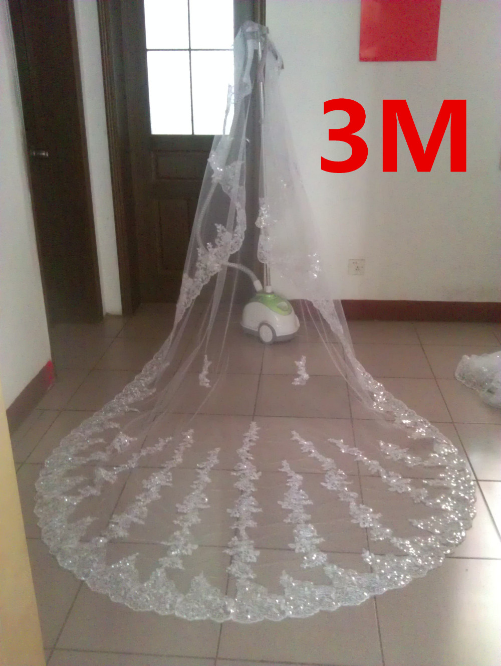 Brilliant lace Sequins Long 3 M 3.5m 5M Wedding Veils Wedding Accessories Cathedral Bridal Veils White In Stock Hot Selling