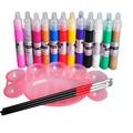 12 Color 3D Drawing Paint Painting Pen Acrylic Nail Art Tips & Pallet 3Pcs Brush Kits