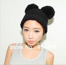 Free Shipping!2013 New Wholesale 5pcs/lot Cartoon Mouse Ear Womens Hats Knitted Hat With Two Pieces Pom Winter/Autumn Caps