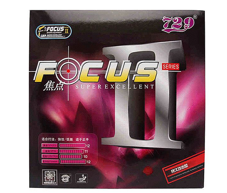 RITC 729 FOCUS II 2 (Attack + Loop) Pips-In Table Tennis (PingPong) Rubber With Blue Sponge