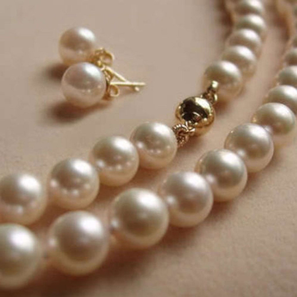 "Charm 8MM White Akoya shell Pearl Necklace + Earring AAA 18""m1 >free shipping"
