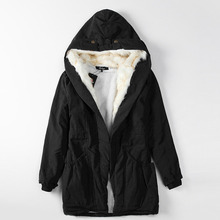 Women s Fashion Cotton Coat 2016 Winter Warm Thick Hooded Long Jacket Female Slim Elegant Parkas