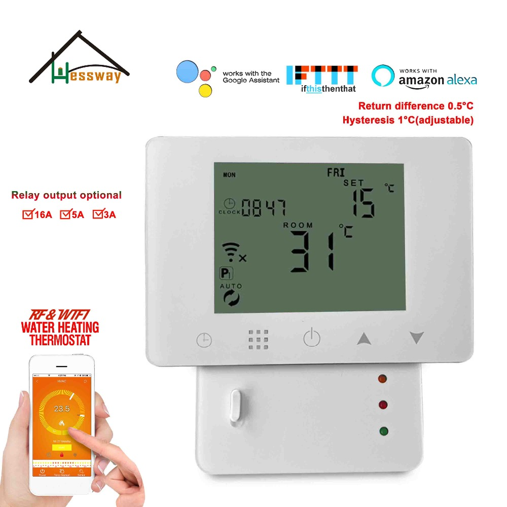 HESSWAY TUYA Smart Wall Mounting Wifi & Rf Wireless Room Thermostat For Warm Floor 3A/5A/16A Optional