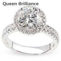 Custom Jewelry 2 Carat F Color Brilliant Round Cut Moissanite Ring With Accents Stone 14K White