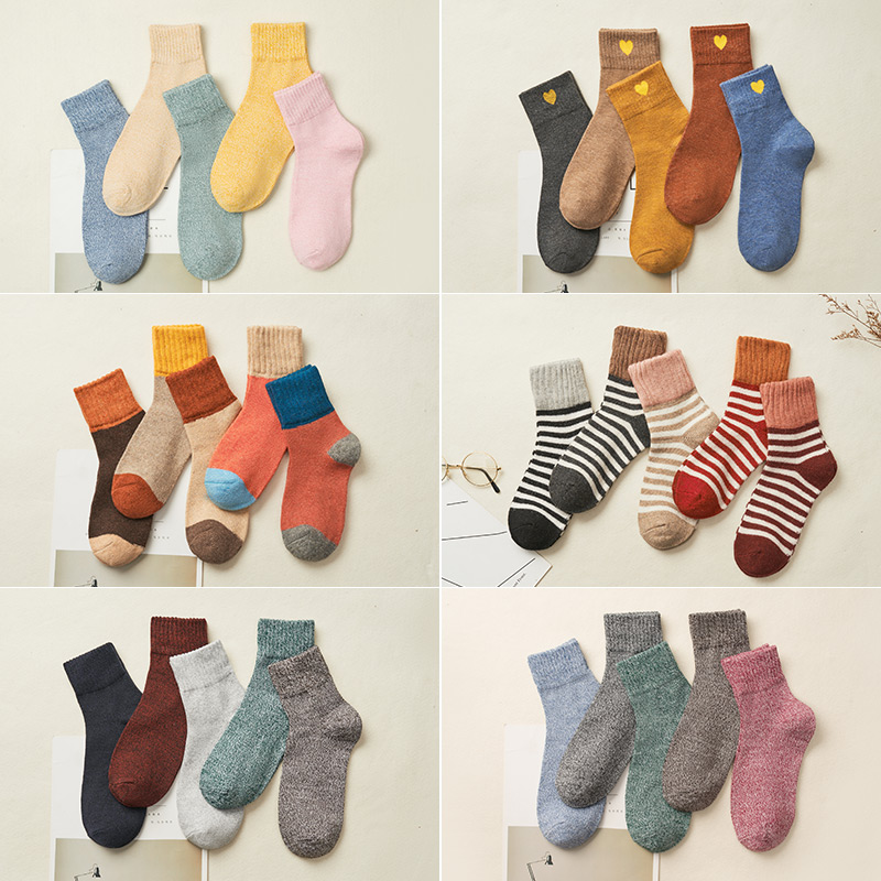 Women Cotton Ankle High Socks Fashion Casual Wool Autumn Winter Knitted Socks