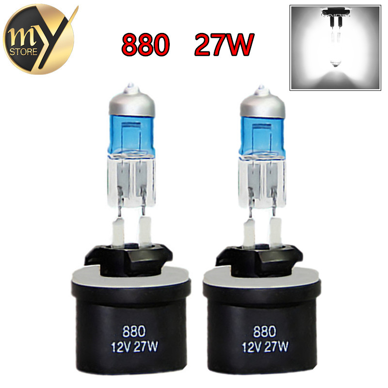 2pcs 880 890 PGJ13 Super Bright White Fog Halogen Bulb Hight Power 27W Car Head Lamp Light 12V H27W/1 Yellow Amber