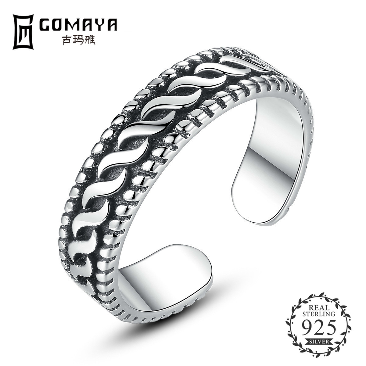 GOMAYA Hot Sale 925 Sterling Silver Adjustable Delicate Vintage Footprints Paw Trail Rings for Women Party Jewelry in Rings from Jewelry Accessories