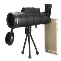 ポータブル40 × 60防水単眼望遠鏡レンズ+クリップ+三脚hd旅行ユニバーサルのためのiphoneサムスン携帯電話