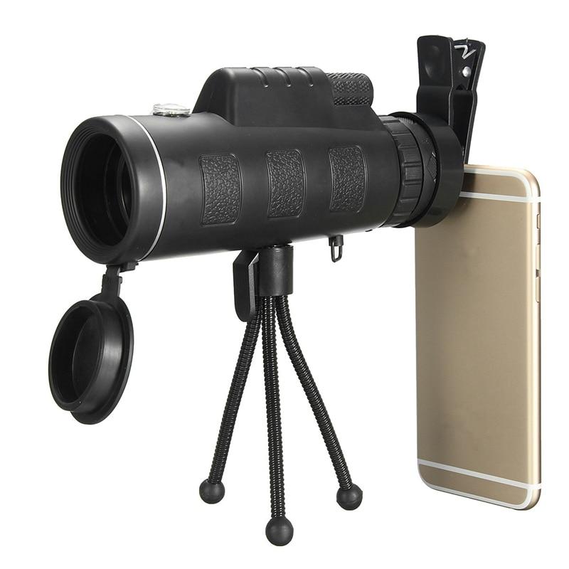 imágenes para Portátil 40X60 Impermeable Telescopio Monocular Lente + Clip + HD Trípode de Viaje Universal Para iPhone Para Samsung Móvil teléfonos