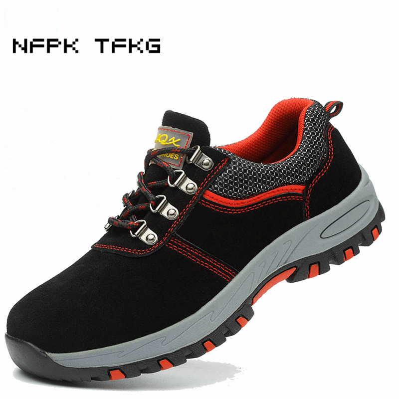 mens casual plus size steel toe covers work safety shoes cow suede leather tooling security boots puncture proof zapatos hombre цены онлайн