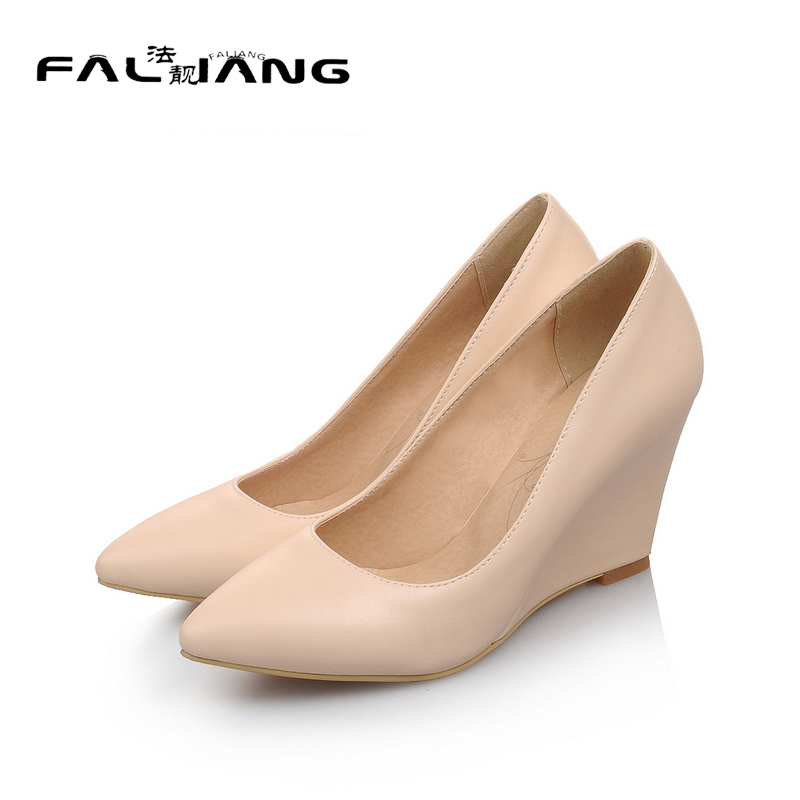 2017 New Spring Autumn Big Size 11 12 Dress Sweet Wedges women shoes Pointed Toe woman ladies womens new flock high big size 11 12 women shoes wedges pointed toe woman ladies butterfly knot casual spring autumn sweet single shoes