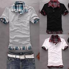 2016 Men Casual Double-Layer False Two Pieces Cotton Short Sleeve Pullover Polo Shirt