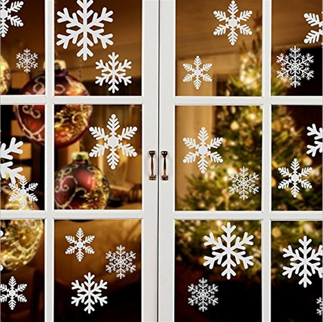 27Pcs/Lot Christmas Snowflake Window Sticker Winter Wall Stickers Kids Room Christmas Decorations for Home New Year Stickers