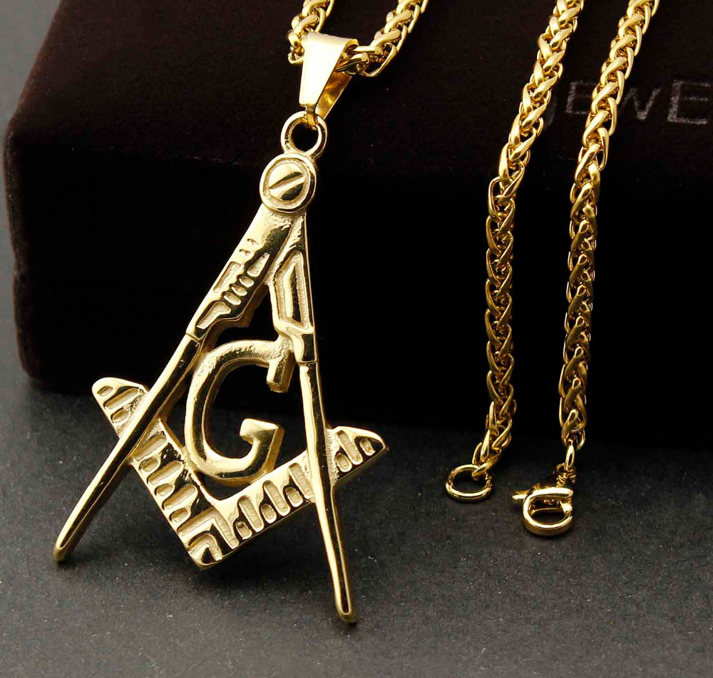 Men 316l stainless steel golden masonic symbol freemason pendant men 316l stainless steel golden masonic symbol freemason pendant necklace in pendants from jewelry accessories on aliexpress alibaba group aloadofball Gallery
