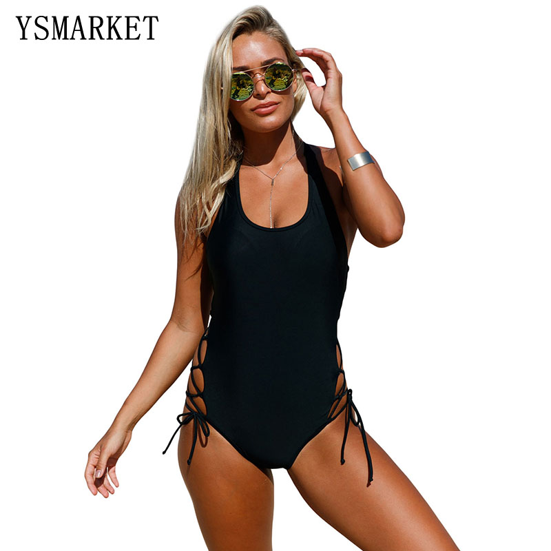 2017 New Arrival Women One Piece Halter Swimsuit Floral Print Swimwear Lace Up Sides Monokini Bathing Suits Beachwear Q410223 brief candy color lace up one piece swimwear for women