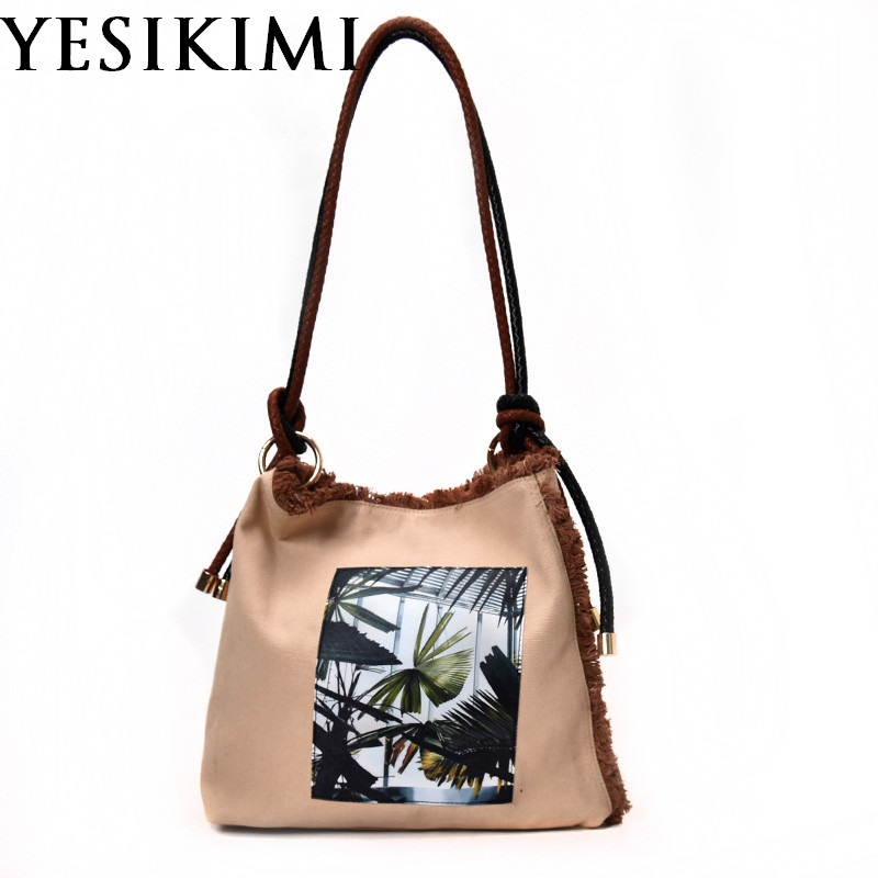 Canvas Bags Flower Printing Rope Straps Ragged Tote Khaki Bucket Bags Single Shoulder Purse