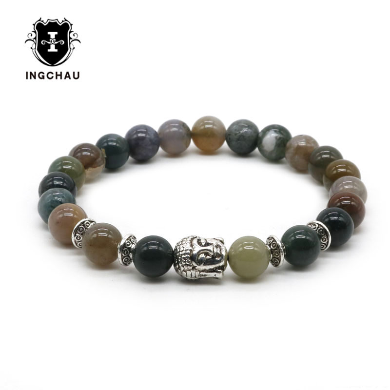 Silver Plated Buddha Bracelet Men/Women Natural Aventurine India Onyx Beads Bracelet Mala Spiritual Pulseira Masculina BD-26