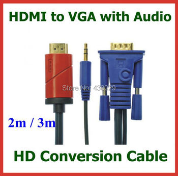 50pcs HD Conversion Cable HDMI Male to VGA Male with 3.5mm Audio Cable HDMI to VGA Video Converter Cable 2M / 3M DHL Wholesale