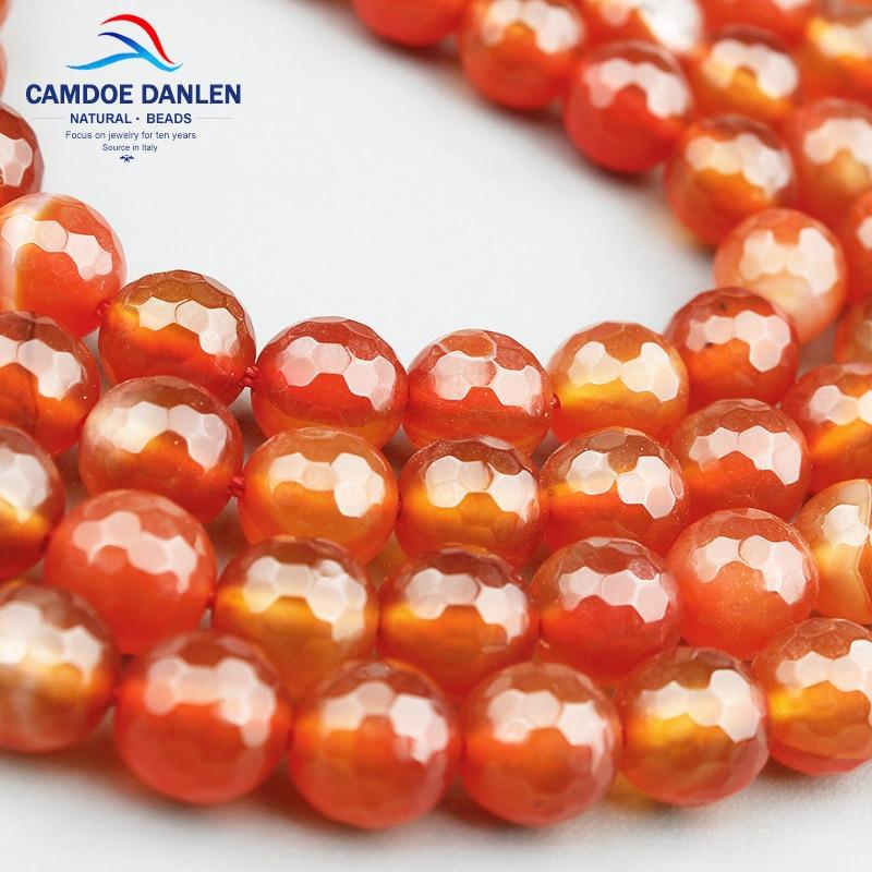 New Natural Orange Red Carnelian Agate Gemstone stone Round Beads 15.5/'/' DIY
