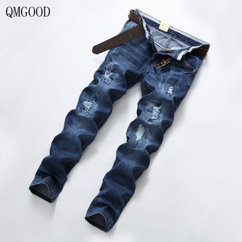 QMGOOD 2017 New Summer Fashion Blue Hole Jeans Men Long Trousers Skinny Ripped Distressed Jeans Denim Pants Plus Size 28-38 аксессуар man kung прицел для лука mk sight