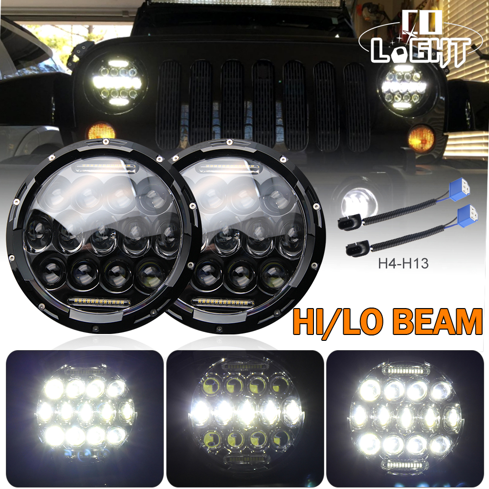 COLIGHT H4 Headlight 2PC 7 inch Round Led Chip 75W 25W Hi Lo Indicator Light for 1997-2016 4x4 Jeep Wrangler JK Parking Driving colight 1pair 7 inch 30w led headlight h4 hi lo beam car styling fog light super drl parking light for jeep hummer land rover