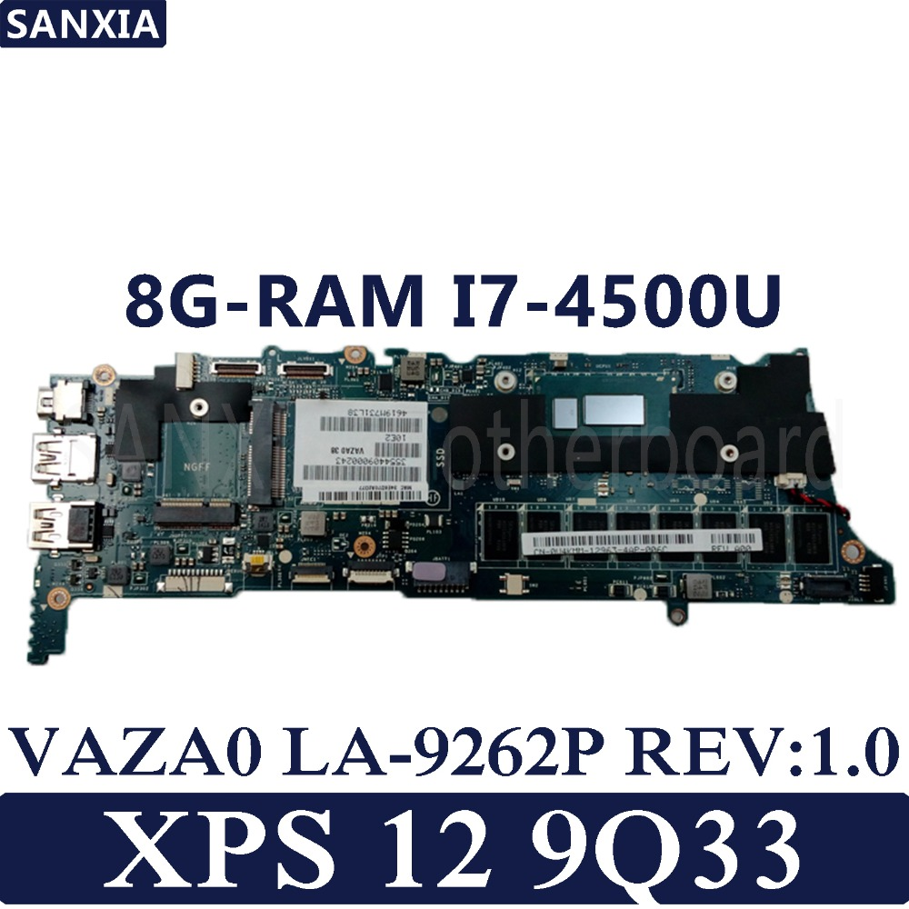 KEFU VAZA0 LA 9262P REV 1 0 Laptop motherboard for Dell XPS 12 9Q33 Test original