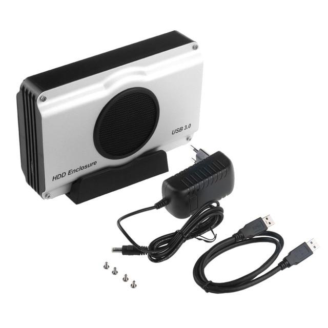 US/EU Plug 3.5 inch 393U3 Aluminum Casing 5 Gbps SuperSpeed USB 3.0 to SATA HDD Enclosure Box Case Internal Cool Fan In stock!