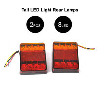 2pcs Pair 8 LEDs Car Truck Rear Tail Light Warning Lights Rear Lamps Waterproof Tailights Rear