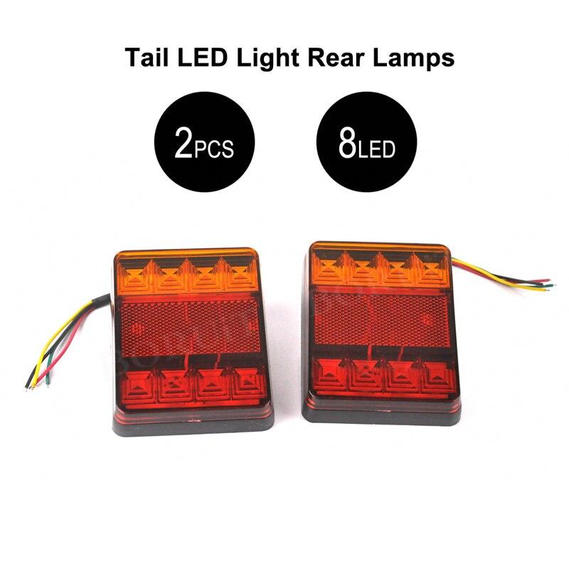 2pcs/pair 8 LEDs Car Truck Rear Tail Light Warning Lights