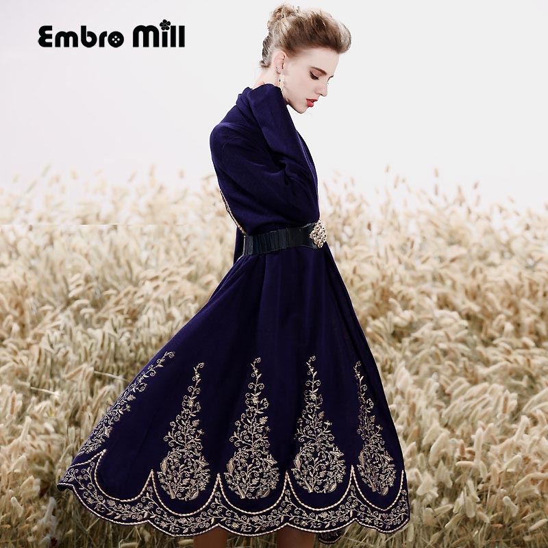Женский костюм набор королевская вышивка жилет платье + свободный шерстяной вязаный цветочный кардиган пальто 2 шт. Элегантный женский кост