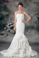Boho Vestido De Noiva 2017 Wedding Dresses Mermaid Strapless Taffeta Pleated Turkey Plus Size Wedding Gown