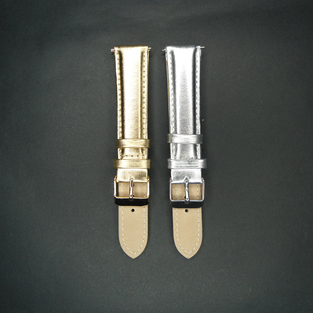 YQI 20mm Calf Genuine Leather Watch Band Watchband Gold Silver Watch Strap For Hour For Men Women Watches With Steel Buckle