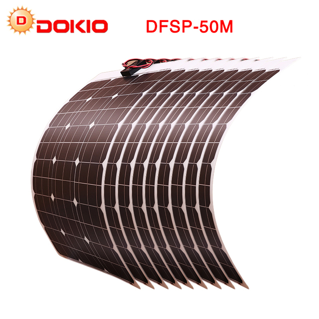 DOKIO 10Pcs 50W Flexible Solar Panel 500W Waterproof Solar Panels Solar Kits 18V 12V For Boat Car Camping With 10A Controller