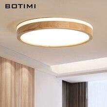 BOTIMI 220V LED lampy sufitowe drewniane prostokąt lampa sufitowa do salonu okrągłe lampy sufitowe nowoczesne oświetlenie drewna