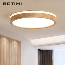 BOTIMI plafonnier rectangulaire en bois, design moderne, luminaire de plafond, montage circulaire, luminaire de plafond, idéal pour un salon, 220V LED