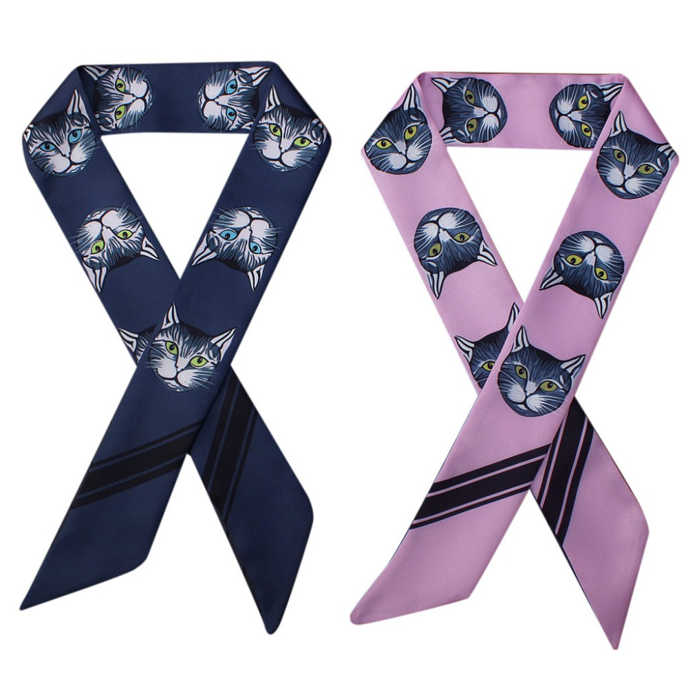 5 colors Women fashion autumn spring luxury cat Print Scarf Wrap Soft Silk Scarf  Headband Tied Small Ribbon feminine hair scarf