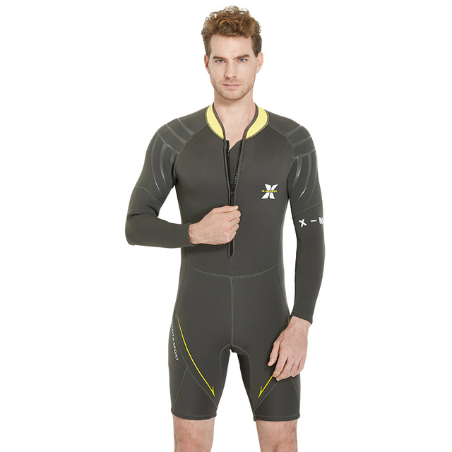 Dive   Sail 3mm Neoprene Mens Wetsuit Jumpsuit Long Sleeve Shorty Adults  Spring Wetsuits Front Zip c097bef2ad67