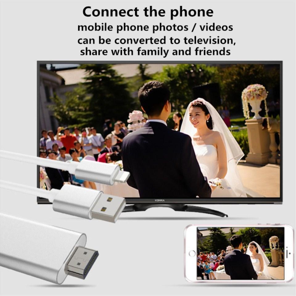 HDMI Cable HDMI Cable HDTV TV AV Adapter USB Cable 1080P iPad Air /iPad  mini 2 3 4 iPhone X 8 7 6S Plus iOSBlack Gold Rose Blue Silver 2m