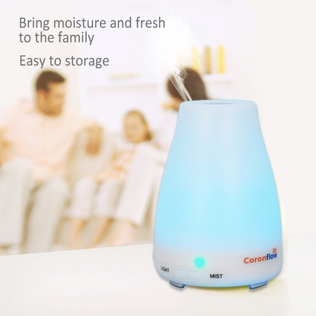 100ml Aroma Essential Oil Diffuser Ultrasonic Air Humidifier with 7 Color Changing LED Lights for Office Home