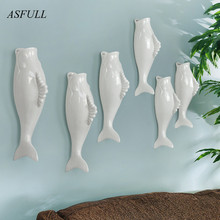 Modern creative fish shaped vase wall crafts home decoration accessories