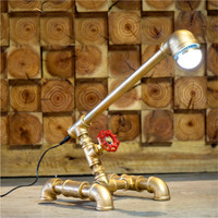 New Antique Iron Steampunk Industrial Water Pipe Tube Desk Lamp Light Led Lamp Working Valve Switch