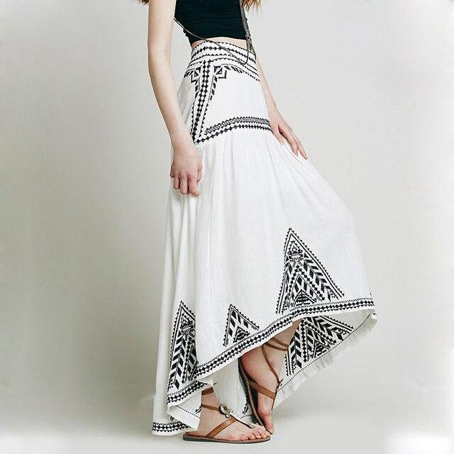 f1c8087cab Rara blanco Bohemain Desigual bordado alto bajo falda larga de talle alto  elegante de lino ocasional