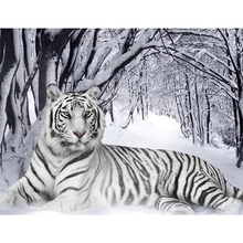 5D DIY Full Drill Round Diamond Embroidery Diamond Painting Snow White Tiger Pattern Mosaic Stickers Cross Stitch цена