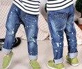 2-6 лет детские Мальчики джинсы рисовать мешковатые штаны ковбой Отверстие брюки оптом