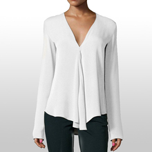White Blouse Long Sleeve Chiffon Blouse Double V-neck Women Tops and Blouses Solid Office
