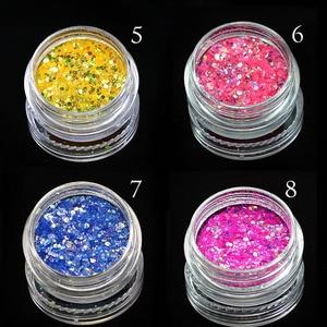 Image 4 - 1 Box Shiny Nail Sequins Glitter Tips UV Gel Nail Art Decoration Colorful Nail Glitter Powder Dust Manicure Accessory BENC342