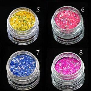 Image 4 - Glitter brilhante para unhas em gel uv, acessório para manicure, pó de glitter e arte para unhas, colorido, benc342, 1 caixa