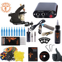 Complete Tattoo Kit One Machine Gun Tattoo Machine Power Supply 4 Color Ink Sets Disposable Needle
