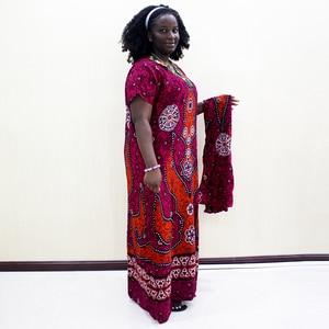 Image 3 - 伝統的なプリントスパンコール半袖ロングドレスアフリカ Dashiki カジュアルの服