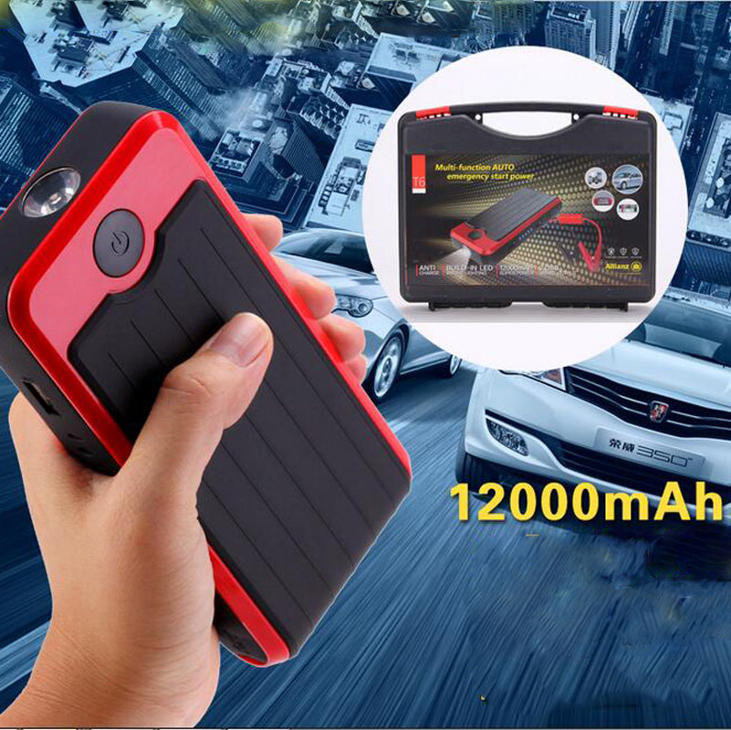 ФОТО 12000MAH Car Emergency Battery Jump Starter & Rechargeable External Portable Mobile Power Bank Charger with Plastic Box LR15